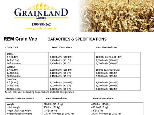 REM Grain Vac Specifications | Grainland Moree