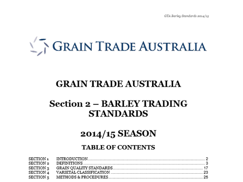 Barley Standards 2014 - 15 | Grainland Moree